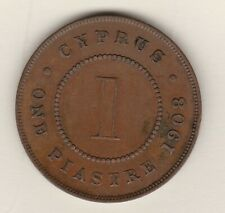 More details for scarce 1908 cyprus edward vii one piastre in good very fine condition.