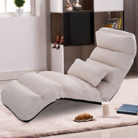 Folding Lazy Sofa Chair Home Office Seat Sofa Couch Beds Lounge Chair W/Pillow