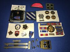 Lot of Vintage US Military Bars Pins Patches Belt Buckle Ribbons Calvary 25+ Pcs