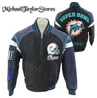 Miami Dolphins NFL Men's Full-Zip Suede Leather Super Bowl Jacket