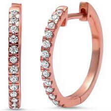 Rose Gold Plated Cubic Zirconia .925 Sterling Silver Hoop Huggie Earring