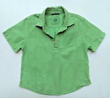 Mini Boden 4-5 4t 5t Boys Green Linen Pullover Shirt Top JA1-51