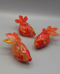 Murano Glass Fantail Fish Goldfish Orange Vintage.