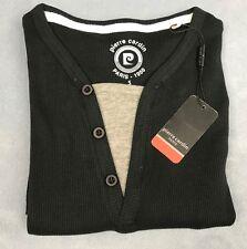 Pierre Cardin Ribbed Mock T Shirt Mens Gents V Neck Tee Top Short Sleeve Size S