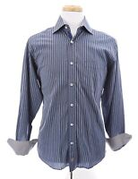 Bugatchi Uomo Mens Classic Fit Button Down Up Shirt Blue Gold Striped Sz Medium