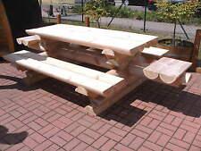 RBSG2FB Rundbohle Garten Sitzgarnitur Tisch 2 Bänke Lehne Biergarten Sitzgruppe