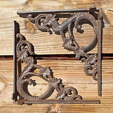 "Set of 2 antique style Cast Iron Decorative Shelf Brackets 9.5"" x 9.5"" #76"