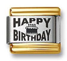 Italian Charm Bracelet Link Laser Happy Birthday Gold Trim Stainless Steel 9mm