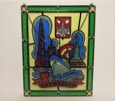 "New ListingVintage Stained Glass Window Suncatcher Antwerpen Ship 14"" x 18"" Panel Excellent"