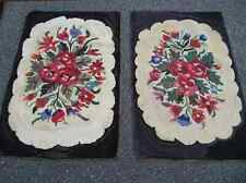 Pair Antique Handmade Hooked Rugs Vivid Floral Black Border Wool Cotton 25�x38