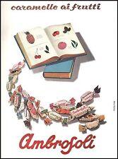 PUBBLICITA' 1957 CARAMELLE AMBROSOLI GUSTI FRUTTA SAPORI BAMBINI LIBRI TRUTTERO