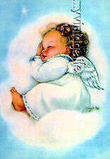 Sweet Baby Angel Floating on Cloud Quilting Fabric Block 5x7