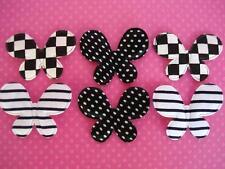 60 Black & White Check/Stripe/Polka Dot Fabric Butterfly Applique/Trim/Bow H184