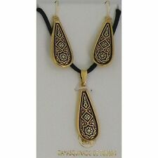 Damascene Gold Star of Redemption Design Earrings Necklace Set by Midas of Spain