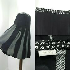 NOA NOA Black White Skirt Floral Pleated Knee Length Silk Wedding Guest M 12 40