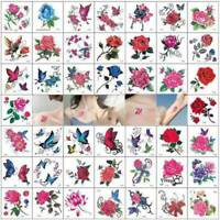 66X Temporary Tattoo Stickers Body Art 3D Waterproof Flower Butterfly Tatoo UK