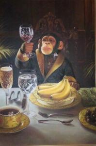 ZWPT894 100% hand monkey orangutan eatting breakfast oil painting art on Canvas