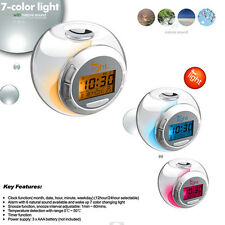 Transparent 7 Color LED Digital Glowing Home Bedroom Alarm Clock Noctilucence