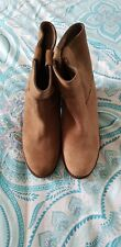 STEVE MADDEN Brown Suede Boho Cowgirl Leather High Heel Ankle Boots 6M B4