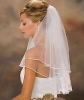 Schleier Brautschleier 2 Lagen mit Kamm 2-lagig Webkante Hochzeit Braut NEU