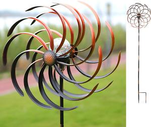 Backyard Windmill Kinetic Wind SpinSoner lar Light Yard Decor Outdoor Metal 75in