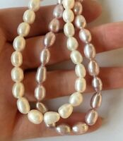 100% Genuine White real Freshwater 6-7mm Round Pearl Collar Necklace Nice Lady