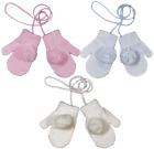 Baby MITTENS mitts stringed strings knitted gloves POM POM Spanish girl boy