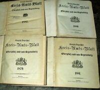 4x Kreis-Amts-Blatt Regensburg Oberpfalz 1879 1880 1881 1887 Chronik Neumarkt