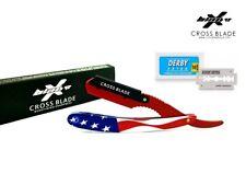 American Flag Barber Straight Cut Throat Wet Shaving Razor Shavette Rasoi , USA