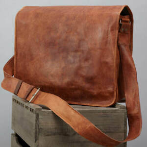 Men's Genuine Vintage Leather Satchel Messenger Man Laptop Briefcase Bag