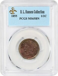 1855 1/2c PCGS MS65 BN ex: D.L. Hansen - Pretty Gem - Half Cent - Pretty Gem