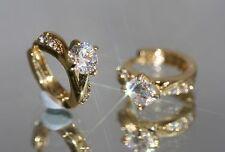 2 x 0.5ct  Created Diamond 18K Yellow Gold GF 1.3cm Hoops