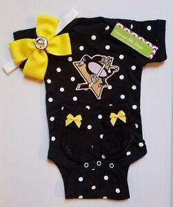 Penguins baby/newborn girl Pittsburgh hockey girl Penguins hockey baby gift