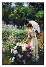 Frau in den Garten - 90x60cm-Ölbild handgemalt Leinwand Signiert G95223