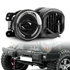 "Pair 4"" Round LED Fog Lights Halo Angel Eyes DRL for Jeep Wrangler JK 2007-2017"