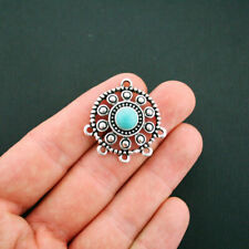 2 Dream Catcher Charms Antique Silver Tone with Inlaid Faux Turquoise - SC5812