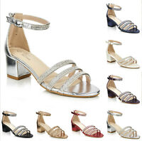 LADIES LOW HEEL STRAPPY SANDALS WOMENS BRIDAL PROM DIAMANTE SHOES SIZES 3-8