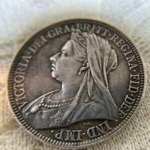 1899 Silver .925 British 2 Shilling/1 Florin Coin-Queen Victoria-Very Nice