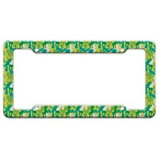 Gumby Pokey Silhouettes Green Polka Dots Pattern License Plate Tag Frame