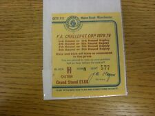 15/01/1979 Ticket: Manchester City v Rotherham United [FA Cup] Not Dated But Spe