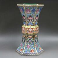 Chinese Colour Enamel Porcelain Hand Painted Flowers Design Bottle Vase 10 inch
