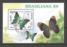 Papillons Cambodge (32) bloc oblitéré