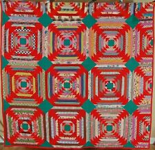 VIBRANT Vintage Red Log Cabin Flying Geese Antique Patchwork Quilt ~NICE DESIGN!