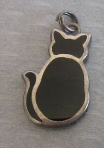 vtg 925 sterling silver enamel BLACK CAT CHARM seated kitty