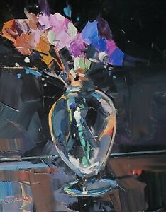 JOSE TRUJILLO Oil Painting IMPRESSIONISM STILL LIFE FLOWERS FLORAL COLLECTIBLE