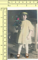 049 1930's Girl w Flowers Kid Child Portrait Hand Colored Color Tinted old photo