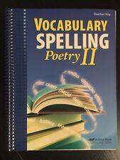 Vocabulary Spelling Poetry II Teacher Key (includes Poetry CD) Grade 8 ABeka