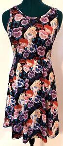 Disney Alice in Wonderland Pansies Flowers Fit & Flare Skater Dress JRS Sz Small
