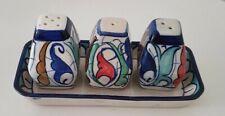 Blue Felicity Salt n Pepper Holder, Handmade,Hand Painted, Flowered Design,Decor