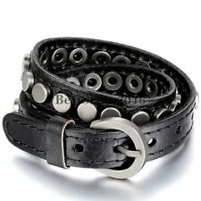 Mens Womens Punk Rivet Layer Leather Belt Buckle Adjustable Cuff Bangle Bracelet